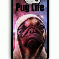 Samsung Galaxy S6 Case - Rubber (TPU) Cover with Funny Pug Life On Galaxy Rubber case Design