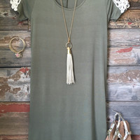 Walking thru the Garden Tunic Dress: Heather Olive
