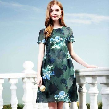 DCCKON3 100% silk dress new 2018 spring summer dress short sleeve print floral elegant office lady A line dress high end vestidos