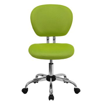 Flash Furniture H-2376-F-GN-GG Mid-Back Apple Green Mesh Task Chair with Chrome Base