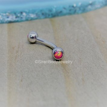 "Opal rook piercing 16g eyebrow bar curved barbell pink opals 5/16"" vertical labret body jewelry daith bar ring"