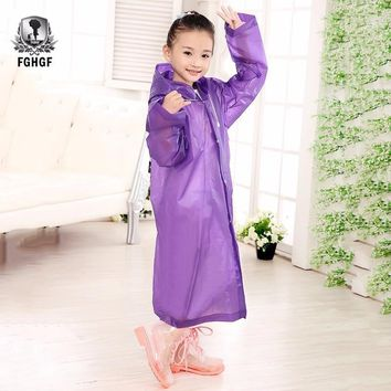 FGHGF EVA Thick Transparent Fashion Children Girls And Boys Rainwear Outdoor Hiking Raincoats Children's Jacket Six-color Choice