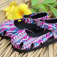 Purple Little Girls Mary Jane Shoes in Hmong Embroidery