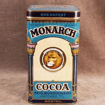 Vintage Cocoa Tin - Monarch Breakfast Cocoa  - Large Size