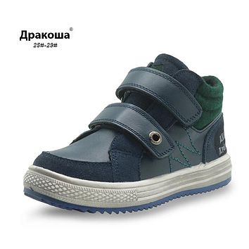 Boys Autumn Boots Genuine Leather Ankle Martin Boots for Boys New Children's Shoes Patched Flat Kids Shoes