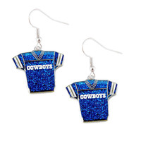 Dallas Cowboys Women's Glitter Jersey Earrings