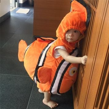 Cool Deluxe Adorable Child Clownfish From Pixar Animated Film Finding Nemo Little Baby Fishy Halloween Christmas Cosplay CostumeAT_93_12