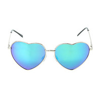 Heart Green Flash Wire Sunglasses