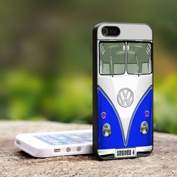 mini bus volkswagen blue  - For iPhone 4,4S Black Case Cover