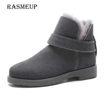 RASMEUP Genuine Leather 100% Wool Women's Snow Boots Winter Women Warm Flat Fur Short Ankle Boots Australian Style Woman Shoes