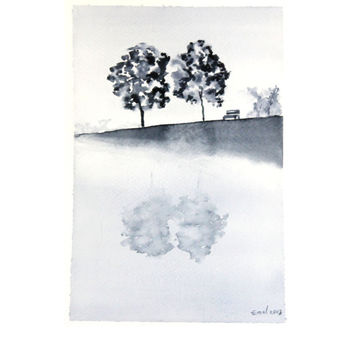 Print of my original watercolor painting . Landscape Black White painting . Handmade Watercolor . Black White color . Trees and lake