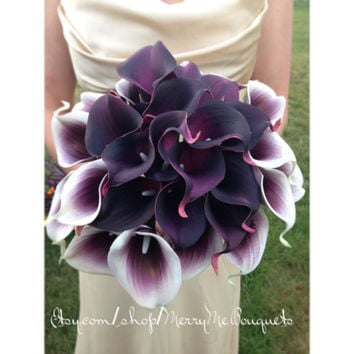 Purple and white calla lily wedding bridal bouquet. Picasso lilies wedding bouquet