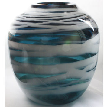 Transparent Blue Vase With Opaque White Body Wrap, White Stripes, Hand Blown Glass Vase - Free Shipping