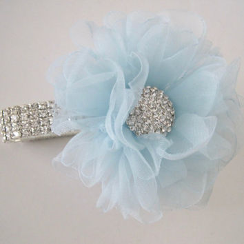 Wrist Corsage Gorgeous Light Blue Chiffon Rhinestone with Gorgeous Rhinestone Accent Choose Your Style Wedding Prom Showers