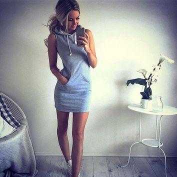JECKSION Fashion Womens Hoody Dress 2016 Summer Casual Sleeveless Grey Mini Casual Dresses With Pockets #LYW