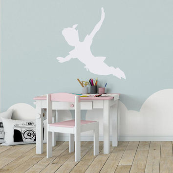 Peter Pan Nursery Wall Decal - Wall Decal Kids, Peter Pan Silhouette for Nursery Decor, Kids Room Wall Decal, Baby Boy Nursery Decor K208