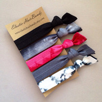 The Black Scarlett Hair Tie Collection - 5 Elastic Hair Ties by Elastic Hair Bandz on Etsy