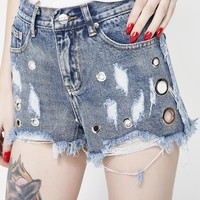Circle Dot Denim Shorts