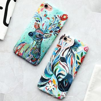 LACK Lovely Cartoon Animal Case For iphone 6 Case Colorful Zebra Milu Deer Painting Cover Hard Phone Cases For iphone 6S 6 Plus