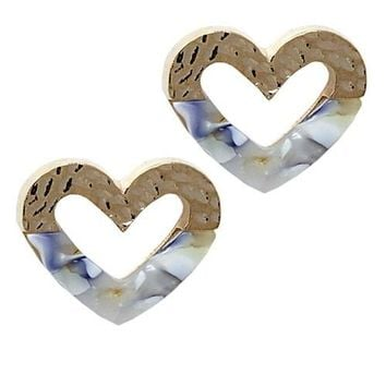 Fashion Heart Metal Post Earrings