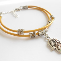 Hamsa bracelet Yellow Leather cord bracelet Hand of Fatima Protection jewelry Birthday Unique gift for her under 20