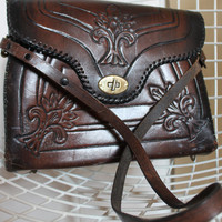 70s Vintage Tooled Leather Purse - Chocolate Colored