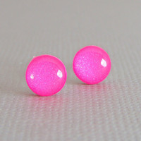 Hot Pink - Post Earrings, Sterling Silver, Shimmer Pink Earrings, Handmade Jewelry