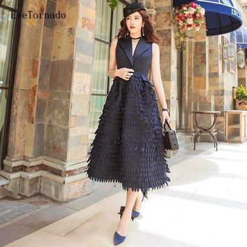 Women Feather Embroidery Lace Tassel Long Work Party Vest Dress V Neck Ball Dresses High End 9859