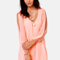 Shifting Dears Peach Long Sleeve Dress