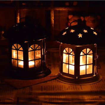 Metal Candlestick Lantern Candle Holder House Decoration Iron Art Craft Lanterns For Candles Lantern Wedding Candle Holders