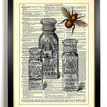 Honey Bee With Honey Jars Dictionary Book Print Upcycled Book Art Upcycled Vintage Book Print Antique Dictionary Buy 2 Get 1 FREE