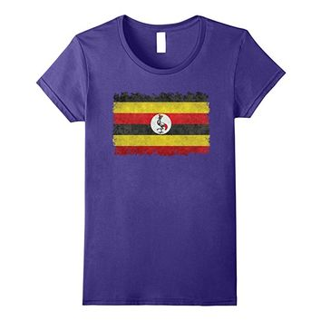 Uganda Flag T-Shirt in Vintage distressed textures and edges