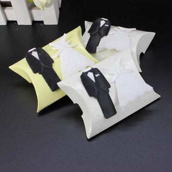 60pcs Pillow Candy Box Bride and Groom Wedding Candy Box Wedding Favors Box Gift Boxes