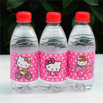 12pcs Hello Kitty water bottle label candy bar kids birthday party supplies baby shower party favor