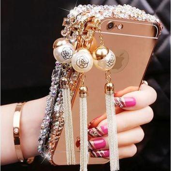 Fashion Luxury Metal rhinestone Mirror Case For iPhone 7 7Plus 5 5s 6 6s 6Plus 6s
