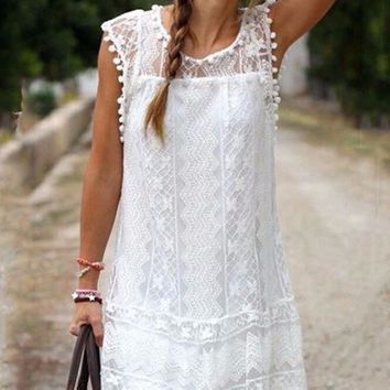 B| Chicloth Black And White Color Lace Ball Ball Lace Loose Dress