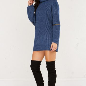 Turtleneck Sweater Dress with Long Sleeves and Zippers at Elbows in Blue