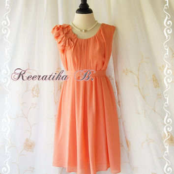 A Party Dress One Shoulder Ruffle Dress Tangerine Dress Prom Dress Party Bridesmaid Dress Wedding Dress Anniversary Dress