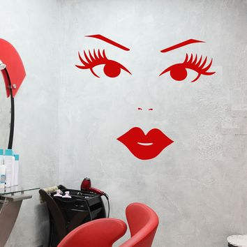 Vinyl Wall Decal Cartoon Girl Face Sexy Lips Eyelashes Makeup Stickers (2788ig)
