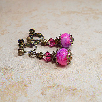 Fuchsia Pink Purple Bright Beaded Dangle Clip Earrings Antiqued Brass Made with Swarovski Crystals Jewelry Gift Sparkle Bling Glitz Glam
