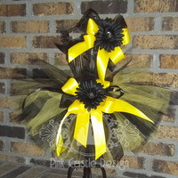 Sports Themed Black Gold Tutu Skirt w/Matching Headband