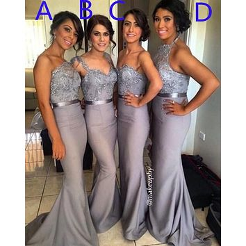 2016 hot 4 Styles Lace Crystal Satin Bridesmaid Gown Peach/Ivory/Champagne/Silver/Coral/Pink/Red Lace Bridesmaid Dresses TL786