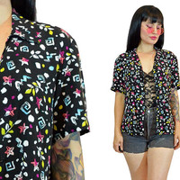 vintage 90s new wave top cropped blouse pastel grunge neon geometric print novelty shirt small