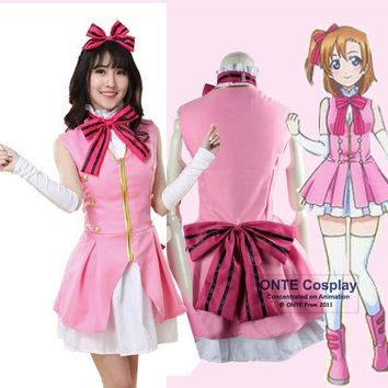 Anime LoveLive! Kousaka Honoka Cosplay Costumes Love Live Start dash!! Cosplay Theatrical Pink Dress