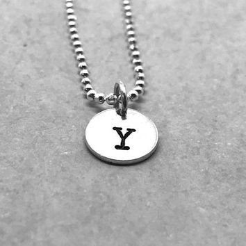 Letter Y Necklace, Sterling Silver, Initial Necklace, All Letters Available, Hand Stamped Jewelry, Everyday Necklace, Gifts for her