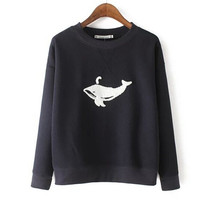Fashion Print Embroidery Fish Round Neck Long Sleeve T-shirt