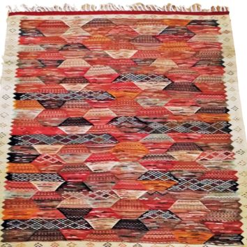 Moroccan Rug - Zanafi Handmade Wool Carpet - Multicolor Reversible Design 61 x 57 inches