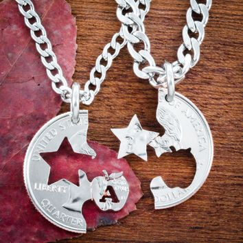 Teacher Sheriff Necklaces, Couples Badges, Hand cut coin