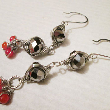 Mirror Finished Glass & Carnelian Gemstone Herringbone Wire Wrapped Dangling Earrings