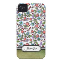 Girly Floral Pattern iPhone 4 Cases from Zazzle.com